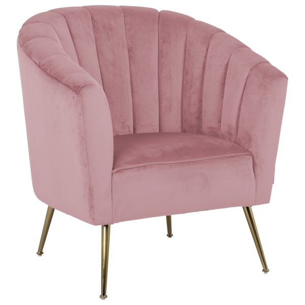 Fauteuils Landelijk Outlet.Fauteuil Shelly Pink Velvet Gold No S4419 Pink Velvet